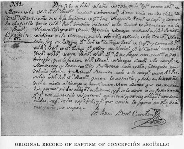 Original Record of Baptism of Concepción Argüello