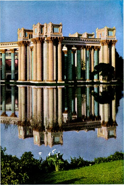 Colonnade of The Palace of Fine Arts reflected in the Lagoon.